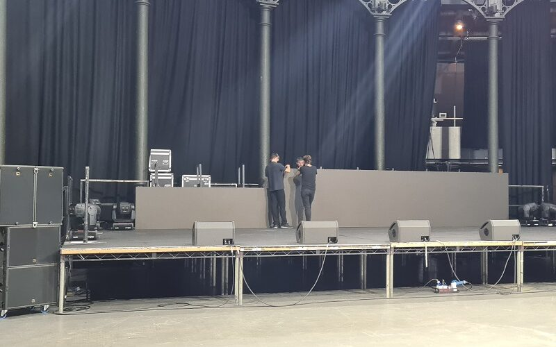 EMS Events Team setting up Audio Visual Equipment for an Event